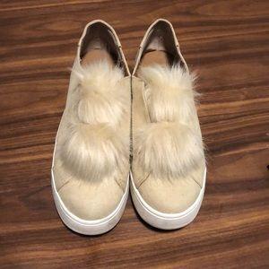 Steve Madden fur slip on sneakers GUC